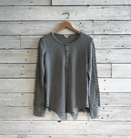 Washed Thermal Henley Top