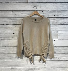 Bobi Lace Up Detail Sweater