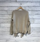 Bobi Lace Up Detail Sweater Heather