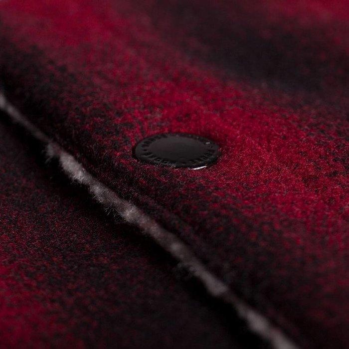 Manteau Sherpa Rouge, Noir & Crème