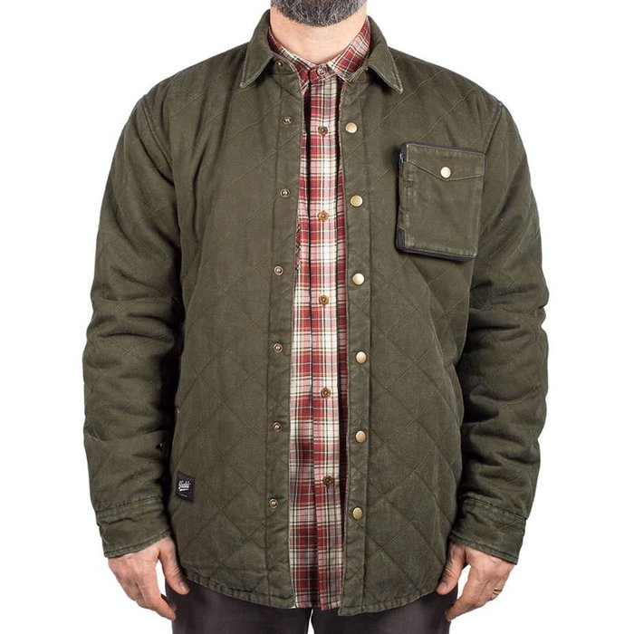 Washed Quilted Jacket Vert Olive