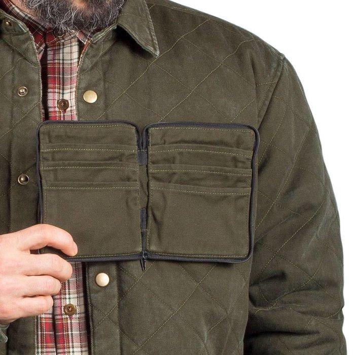 Washed Quilted Jacket Vert Olive