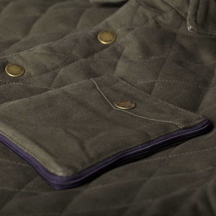 Washed Quilted Jacket Dark Olive