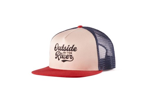 River Trucker Hat Beige, Navy & Red