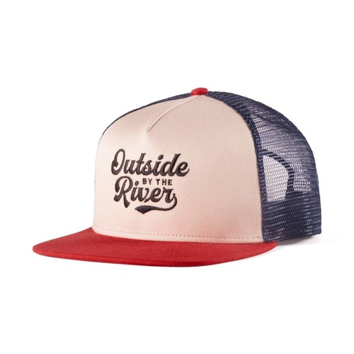 River Trucker Hat Beige, Marine & Rouge