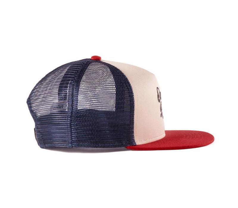 River Trucker Hat Beige, Navy & Red