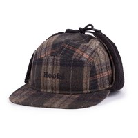 Ear Flap Camper Hat Olive Plaid