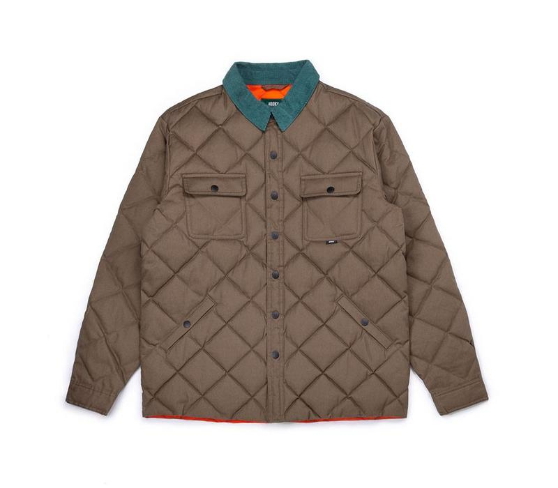 Waxed Quilted Jacket Khaki Brown