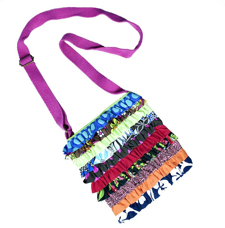 PUALANI RUFFLE HAND BAG WITH STRAP