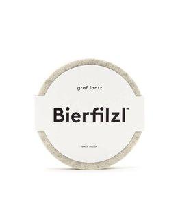 BIERFILZL ROUND COASTER   :   HEATHER WHITE