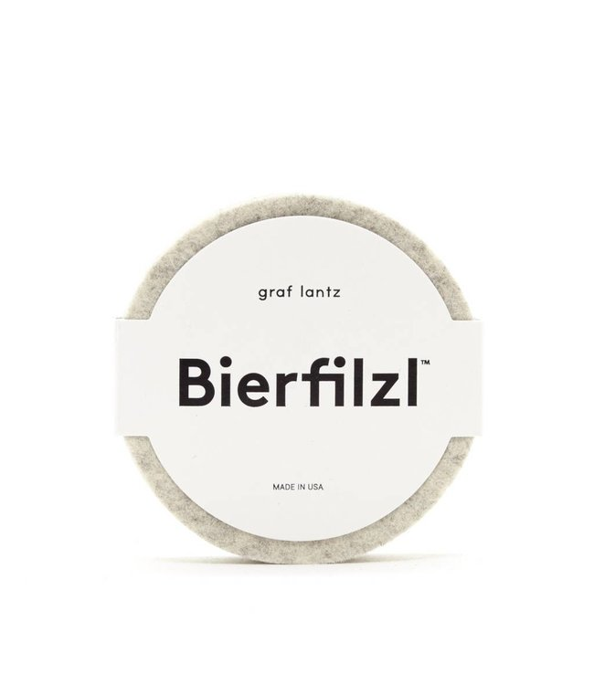 BIERFILZL ROUND COASTER   :   HEATHER WHITE