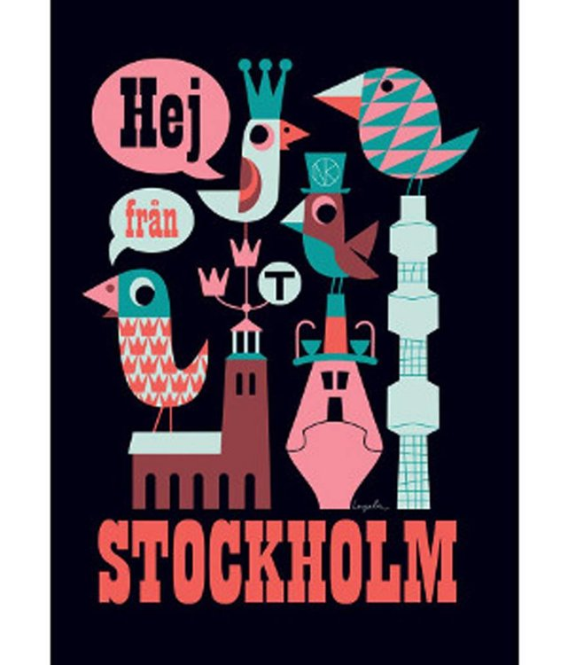 HELLO FROM STOCKHOLM POSTER, BLACK : UNFRAMED