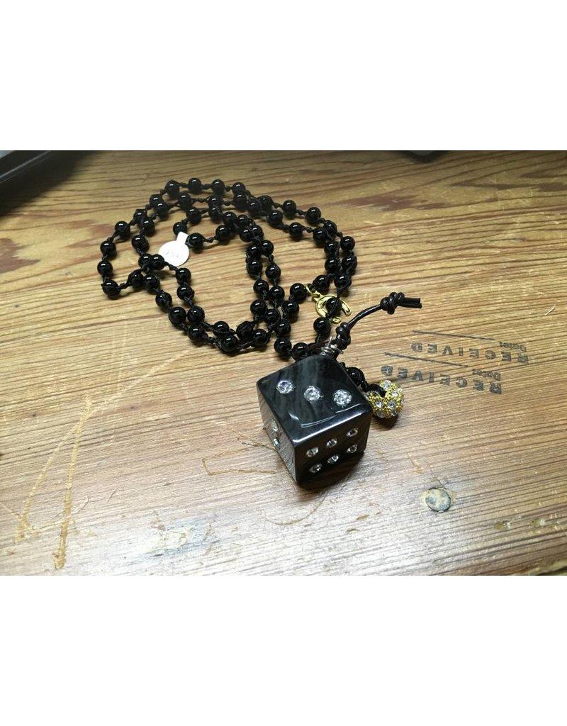 Black Dice Beaded Necklace
