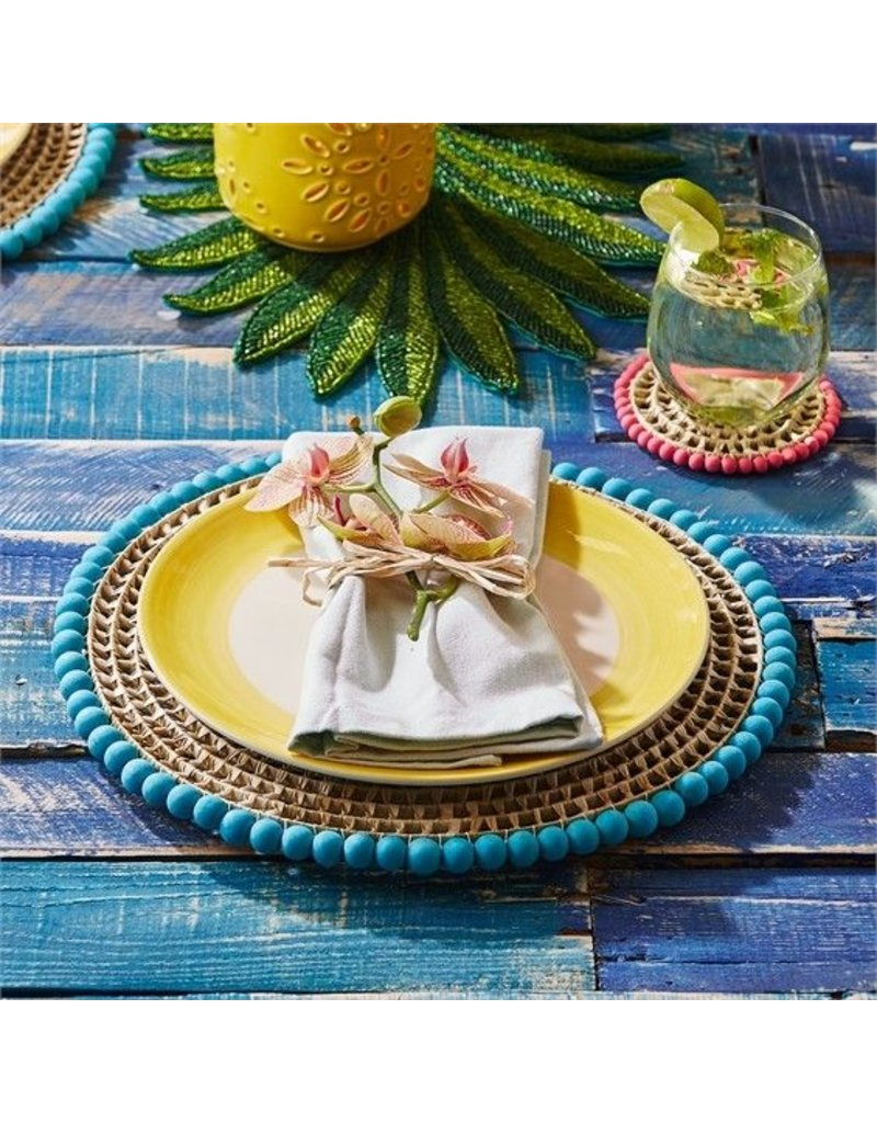 Two's Company Set of 4 Straw/Pom Placemats