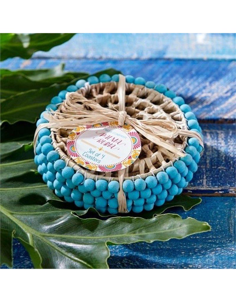 Two's Company Set of 4 Pandan Straw/Pom Coasters