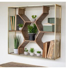 Kalalou Wooden Honeycomb Shelf w/ Metal Mesh