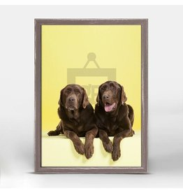 Greenbox Chocolate Lab on Yellow (5X7)