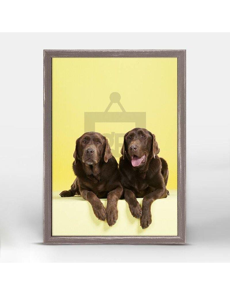 Greenbox Chocolate Lab on Yellow (5X7)