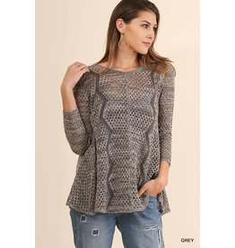 Umgee Knit Pullover Sweater w/ZigZag