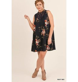 Umgee Floral Slvless Dress w/Crochet Collar