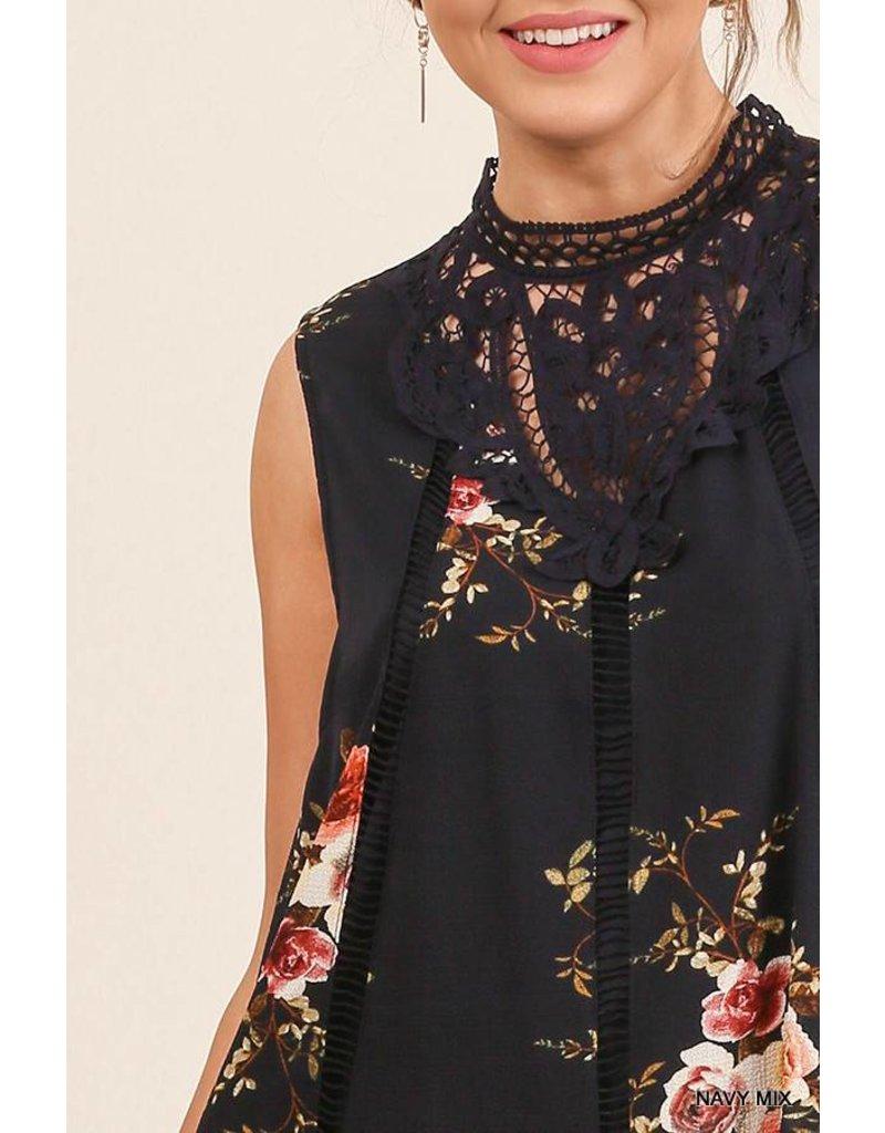 Umgee Floral Slvless Dress w/Crochet Collar