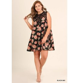 Umgee Lace Collar & Floral Slvless Dress
