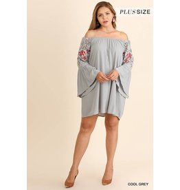 Umgee Off-Shoulder L/S Dress w/Emb Sleeves