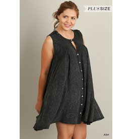 Umgee Button Up Dress w/Crochet Back