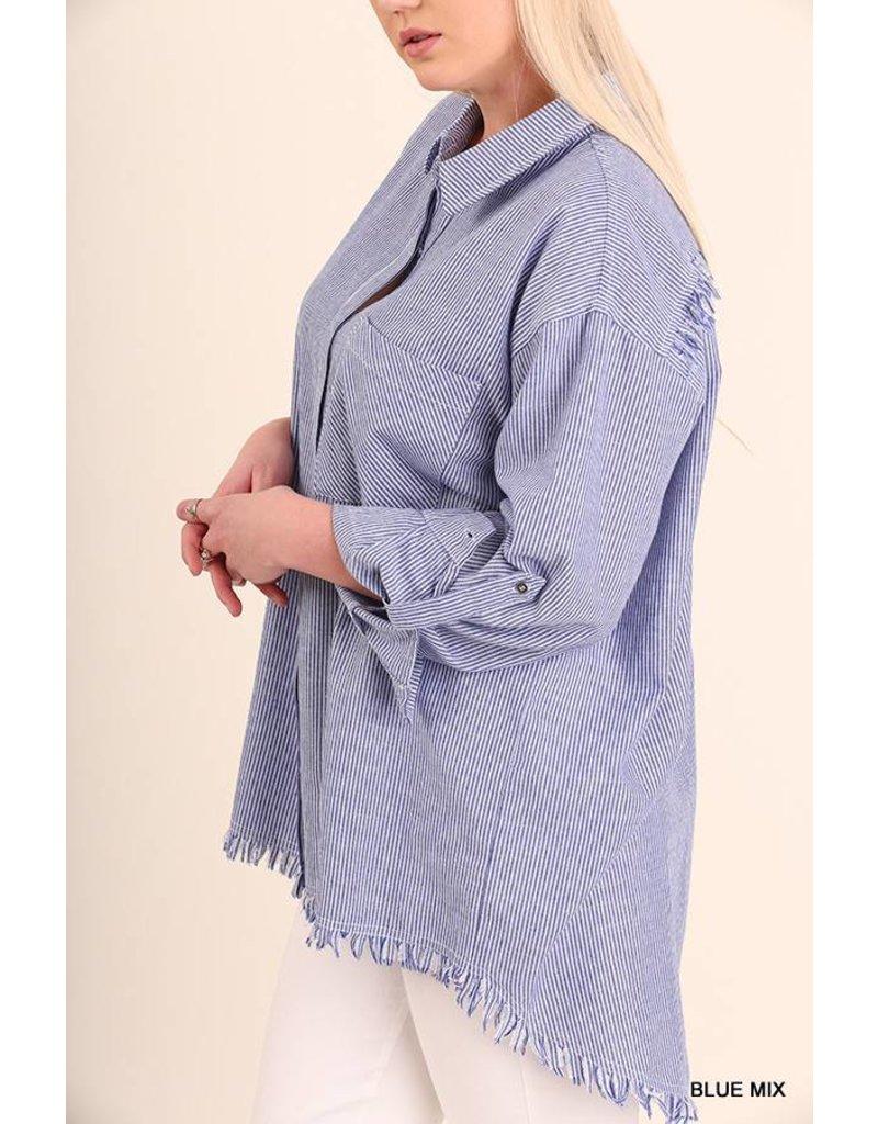 Umgee Button Up Shirt w/ Frayed Detail