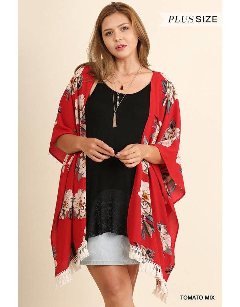 Umgee Floral Kimono w/Tassel Hem