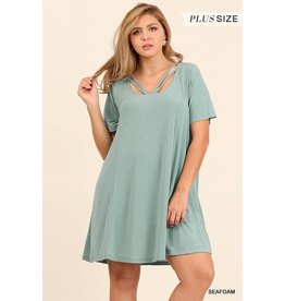 Umgee Flowy Dress w/Strap Neckline Detail