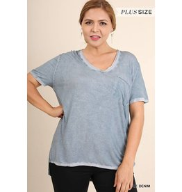 Umgee Pocket Tee w/Side Slit