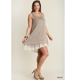 Umgee Sleeveless Dress w/Lace Detail
