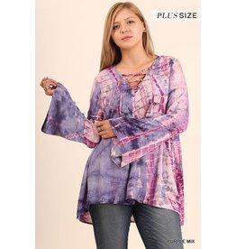 Umgee Tie Dye Top w/CrissCross Front