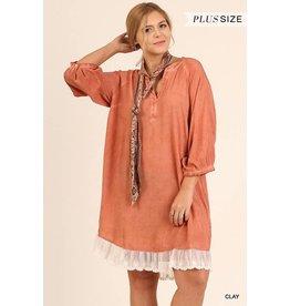 Umgee VNeck Bubble Slv Dress w/Lace Hem