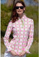 Dizzie Lizzie Pink Grn Wht Geo Pattern