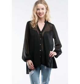 BY TOGETHER L/S Chiffon V-Neck Button Down Blouse