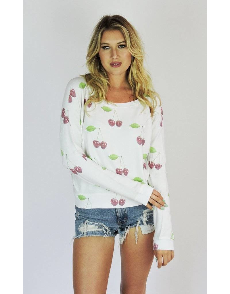 Brokedown Clothing Cherry Print Dolman Sweater