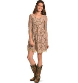 Young Essence Taupe Lace Dress