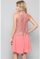BY TOGETHER Pink Lace Sleeveless Top w/Choker Neck & Diamond Cut Out