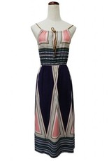 Young Essence Sleeveless Printed Dress w/Drawstring Front
