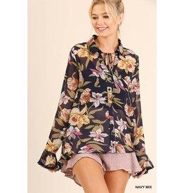 Umgee Floral Print Pom Pom Sleeve