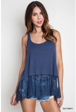 Umgee Ribbed Tank w/ Lace Trim