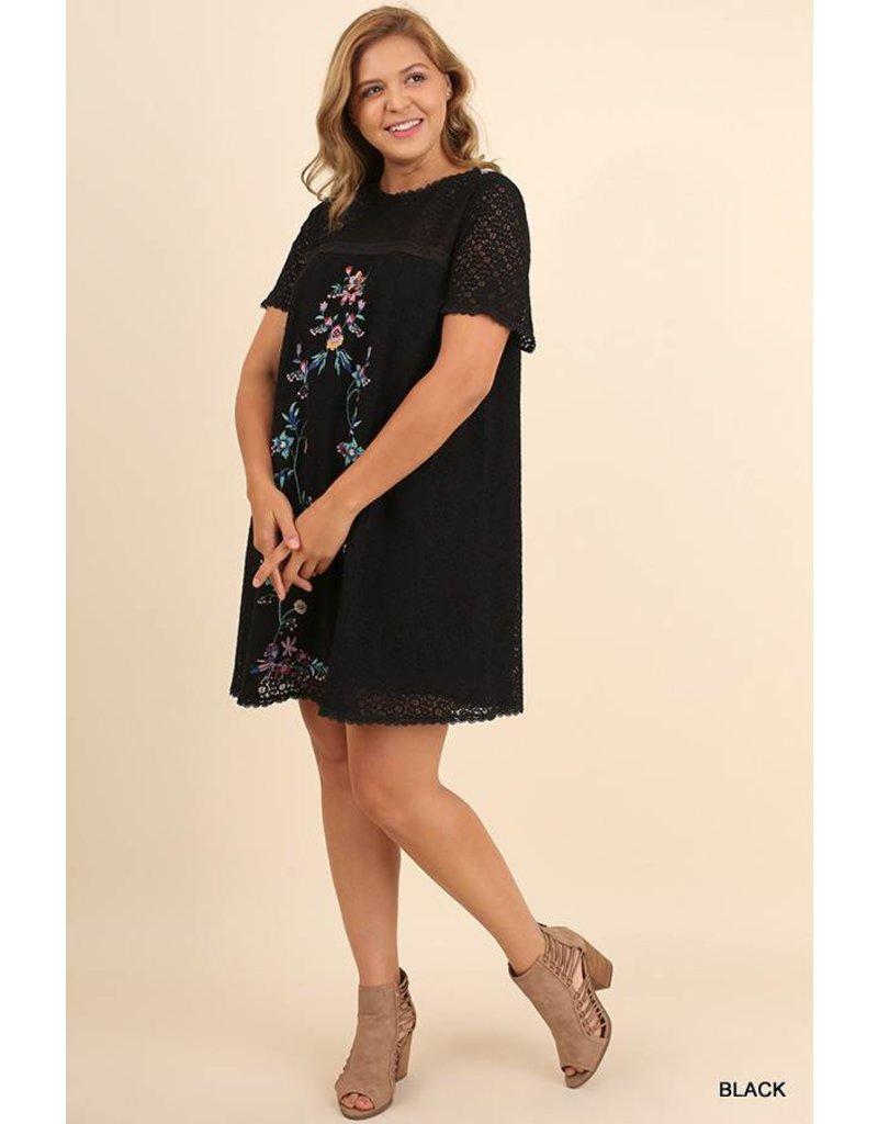 Umgee Lace Dress w/ Embroidery