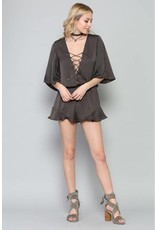 BY TOGETHER L1877 Charcoal Satin Romper L