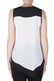 Joseph Ribkoff 171271 B/W Asymmetrical Sleeveless Tunic