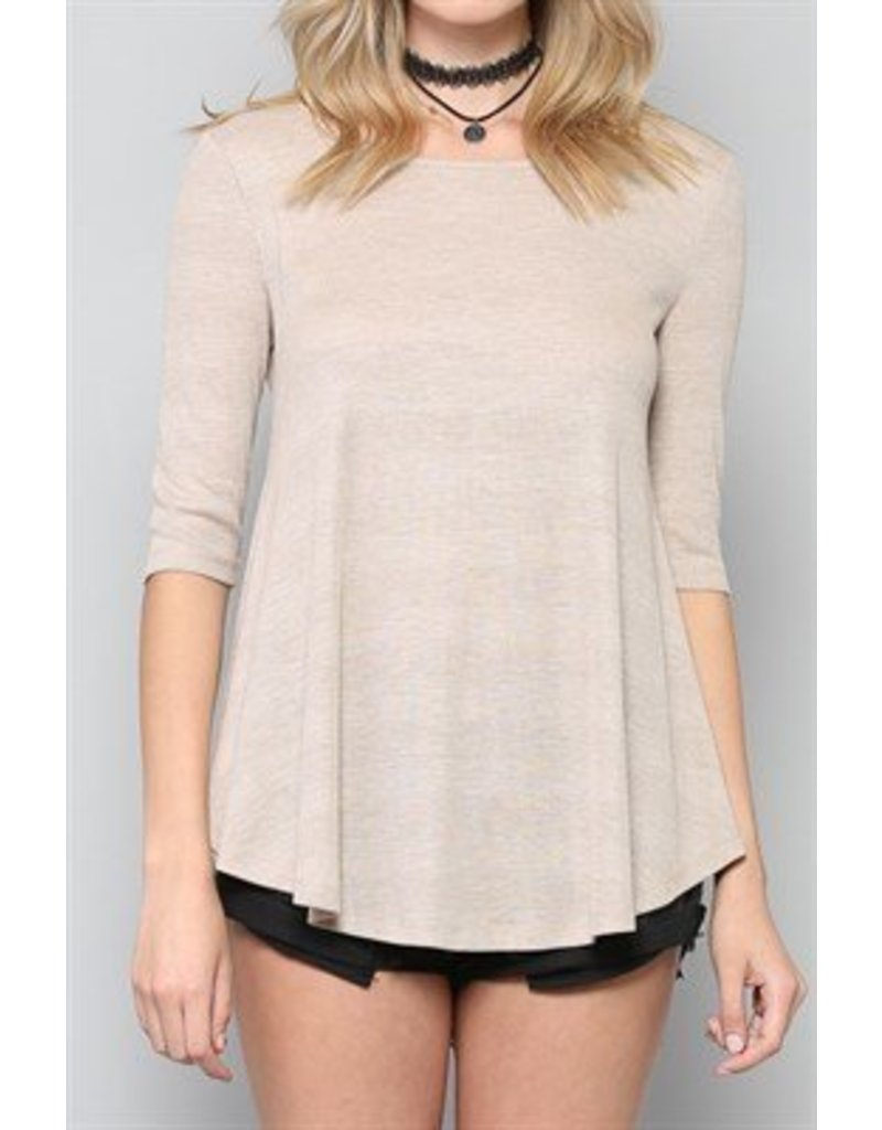 BY TOGETHER 3/4 Sleeve Ribbed Top