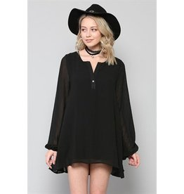 BY TOGETHER L/S Chiffon V-Neck Top