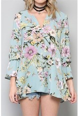 BY TOGETHER L/S Floral Top w/Flared Wrist