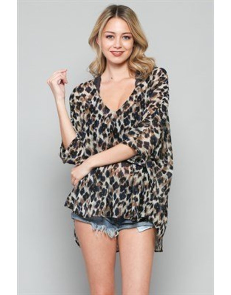 BY TOGETHER Leopard Print Chiffon VNeck Top